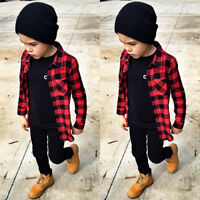 Casual Baby Kids Boys Girl Long Sleeve T Shirt Checks Tops Blouse Clothes Outfit