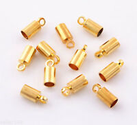 100 pcs 4x9mm Gold Plated Barrel Bead Leather Cord ends caps Jewelry findings