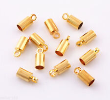 60 pcs 4x9mm Gold Plated Barrel Bead Leather Cord ends caps Jewelry findings
