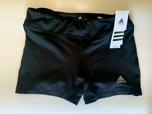 NEW ADIDAS [S] Womens CLIMALITE COMPRESSION Shorts-Black/Silver 110501170