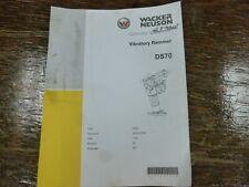Wacker Neuson Ds70 Vibratory Rammer Owner Operator Maintenance Manual