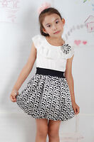 New Summer Girls Flower Party Dress in Black Red Dots From 3-4 4-5 5-6 Years