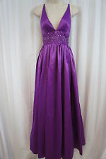 Jessica Simpson Dress Sz 10 Dewberry Purple Empire Embellished Waist V Gown