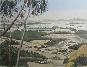 """BARBARA F SUTTON AUSTRALIAN WC """"VIEW FROM THE HILLS"""" C 1985 A"""
