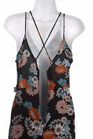 ASTR Floral Strap Dress Black and Multicolor Medium