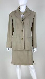 Ungaro NWT 12 14 US 48 IT L XL Beige Wool 2 Pc Skirt Suit Blazer Jacket Runway
