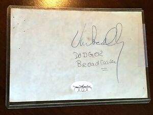 Vin Scully Signed Autograph Page with James Spence (JSA) Sticker