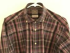 Thomas Dean, Men's Long Sleeve Plaid Checks Spread Collar Shirt Cotton, Large