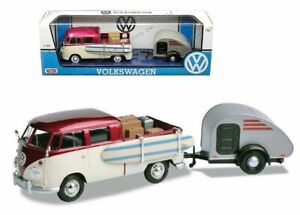 VW Volkswagen Kombi Surf Ute & Tear Drop Trailer 1:24 scale diecast new boxed