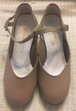 Girls Tan Tap Shoes Mary Jane Style CUBAN Heel Size 1 1/2 by Award  3167