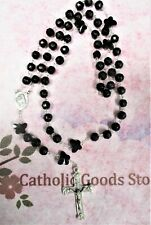 10 mm Black Glass Bead Rosary - St Anthony + Francis Centerpiece - Rosary