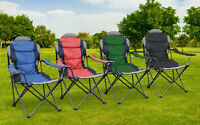 Hyfive Folding Camping Chairs Heavy Duty Luxury Padded with Cup Holder High Back
