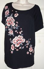 BNWT SEXY BLACK TOP, CAP SLEEVES SCOOP NECK WITH FRONT EMBROIDERY SIZE 18