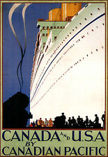 Repro Affiche compagnie maritime Canadian Pacific - Canada USA