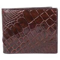 Belly Skin Leather Genuine Crocodile Men Brown Bifold Wallet Purse Fairy-Leather