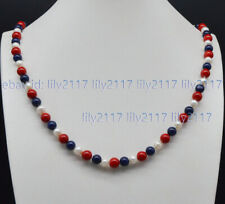 Lapis Lazuli Round Gems Beads Necklace 18'' 6-7mm White Pearl 8mm Red Coral Blue