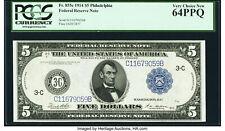 "1914 $5 Federal Reserve Note Philadelphia FR# 855c PCGS 64 PPQ Rare ""C"" Variety"