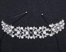 Tiara De Boda Dama de honor, banda para la cabeza, Perlas de Cristal, Con Caja Tiara