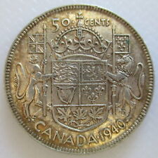 1940 CANADA 50¢ KING GEORGE VI FIFTY CENT .800 SILVER HALF DOLLAR COIN