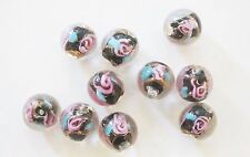 10 Round Lampwork Glass Beads with Flower - Black -10mm