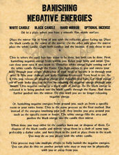 Banish Negative Energy, Book of Shadows Spells Page, Witchcraft, Wicca
