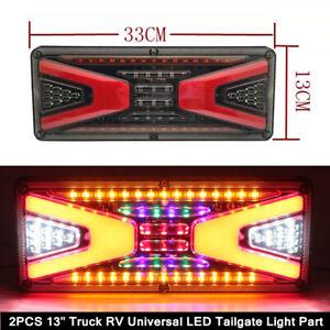 "2X 13"" Truck RV Tailgate LED Brake Reverse Turn Signal Stop Tail Strip Light Kit"