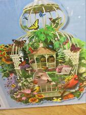 "New 300 Large Format Shaped Alan Giana Art Puzzle ""Birdcage Garden"" 20""x26.5"""