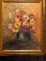 Antique Oil Painting Vintage Old Signed Still Life Impasto Floral Expression Art