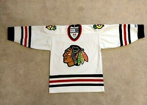 Chicago Blackhawks Youth L/XL Jersey CCM Blank Stitched in White