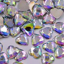 20 x AB Clear Love Heart Beads Rhinestones Gems 16 mm Flat Back Sew On #12