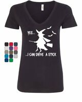 Yes, I Can Drive a Stick V-Neck T-Shirt Funny Halloween Witch
