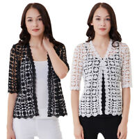 Women's Vintage Lace Hollow Floral Cardigan Summer Cover Up Tops Shawl Jacket