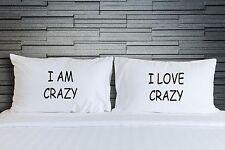 TAIE OREILLER je suis une Crazy love drôle chambre LITERIE Fantaisie Lui et elle