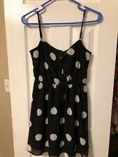Forever 21 Women's Dress, Spaghetti Strap, Black/White Polka Dot, Size S