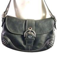 Coach Soho Flap Hobo Purse Buckle Shoulder Bag F10192 Black Leather