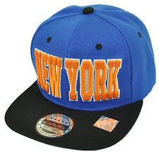 New York NYC City Empire State Blue Black Flat Bill Snapback Hat Cap USA NY
