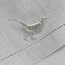 In Pouch From Museum Selection *New Crystal Victorian Style Pheasant Brooch