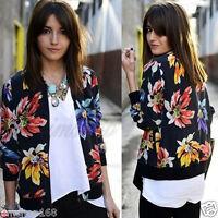 Women's Long Sleeve Floral Printed Bomber Jacket Loose Zipper Coat Outwear Tops