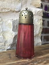 Antique Victorian Cranberry Ruby Glass Sugar Shaker Muffiner