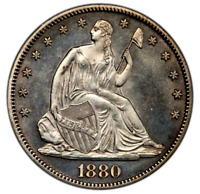 1880 SEATED LIBERTY HALF DOLLAR GEM PROOF EXTREMELY RARE VERY LOW MINTAGE