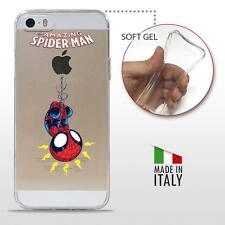 iPhone 5 5S SE TPU CASE COVER GEL PROTETTIVA TRASPARENTE DC MARVEL Spider Man