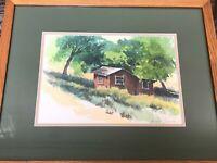 """Darwin Duncan Original Watercolor Landscape, Signed, Framed 13"""" x 9 1/2"""" (Image)"""