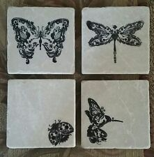 Tumbled Stone Coasters Humming Bird ,Dragon Fly, Ladybug,Butterfly Made in Usa