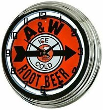 "Retro 17"" A&W Rootbeer White Neon Wall Clock Ice Cold Root Beer Soda Man Cave"