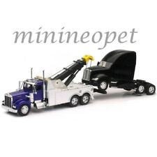 NEW RAY 12873 KENWORTH W900 TOW TRUCK BLUE with KENWORTH T700 CAB BLACK 1/32