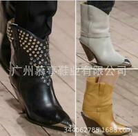 Chic Women Ankle Cowboy Boots Leather Cone Heels Pointy Toe StageT Show Evening