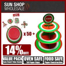 Fox Run Cake Stand & 50 Piece Cupcake Paper Combo Packs Green Red Design!