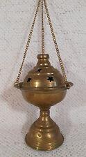"""6 1/2"""" Tall Footed Hanging Chain Brass Incense Burner - Church Thurible / Censer"""