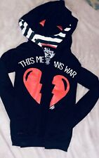 "Abbey Dawn Avril Lavigne Hoodie Sweatshirt Zip up""This Is War"" Hoodie W/Cat Ears"