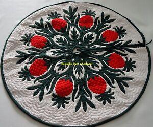 "Hawaiian quilt  CHRISTMAS TREE SKIRT 100% hand quilted/appliquéd PINEAPPLE 42"""